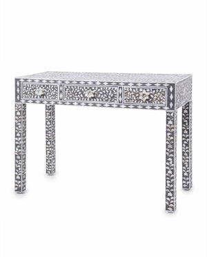 Mother Of Pearl Floral Console Table - Grey