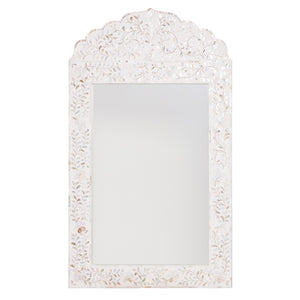 Mother of Pearl Inlay Floral Crested Mirror - White