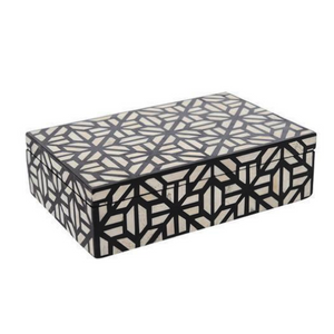 Bone Inlay Abstract Box - Black