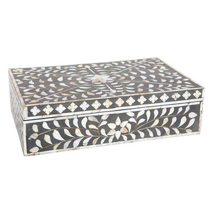 Mother Of Pearl Floral Box - Dark Grey