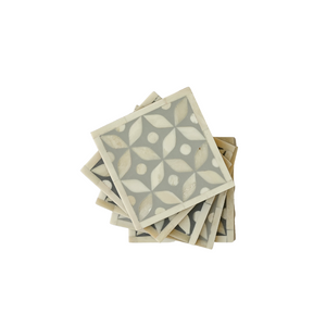 Bone Inlay Geometric Coasters Set - Grey