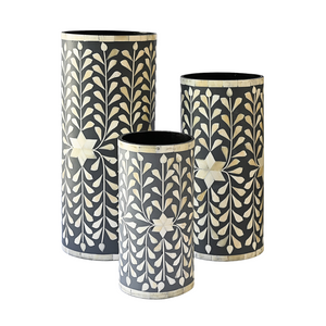 Bone Inlay Floral Vase Set of 3 - Grey