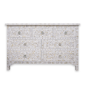 Mother of Pearl Floral Chest 7-Drawers - White