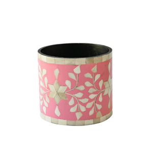 Bone Inlay Floral Small Planter - Pink