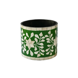 Bone Inlay Floral Small Planter - Emerald Green