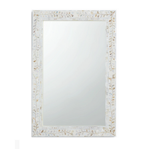 Mother of Pearl Inlay Floral Rectangle Mirror - White