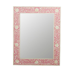 Bone Inlay Floral Rectangle Mirror - Pink