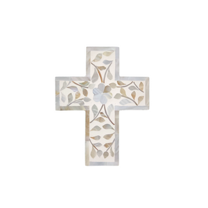 Mother of Pearl Floral Small Cross - White