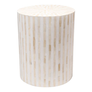 Bone Inlay Stripe Side Table in White