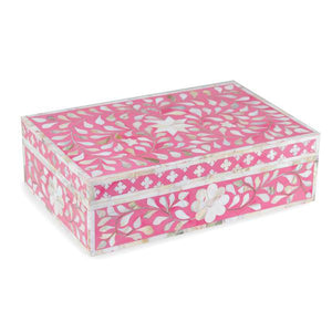 Mother Of Pearl Floral Box - Pink