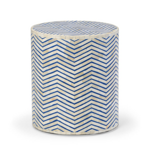 Bone Inlay Chevron Side Table in Blue