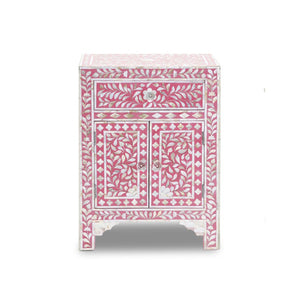 Mother of Pearl Floral Bedside Table with Cabinet - Deep Pink