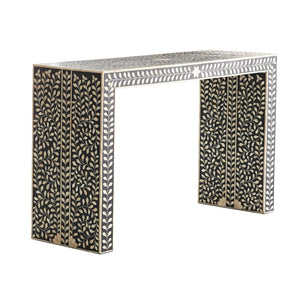 Bone Inlay Waterfall Console Table Floral - Black