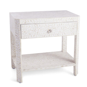 Bone Inlay Floral Bedside Table 1-Drawer - White
