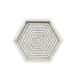 Bone Inlay Hexagon Tray - Grey