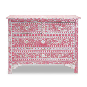 Mother of Pearl Floral Chest 4-Drawers - Pink