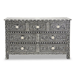 Bone Inlay Floral Chest 7-Drawers - Black