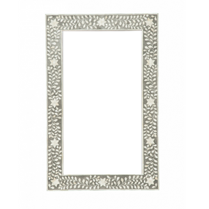 Bone Inlay Floral Rectangle Mirror - Grey