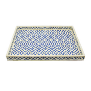 Bone Inlay Geometric Rectangular Tray - Blue