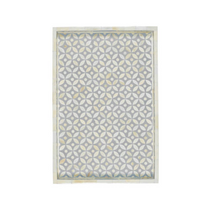 Bone Inlay Geometric Rectangular Tray - Grey