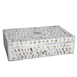 Mother Of Pearl Floral Box - White