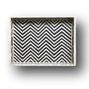 Bone Inlay Chevron Rectangular Tray - Black