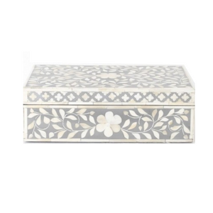 Bone Inlay Floral Box - Grey