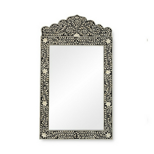 Bone Inlay Floral Crested Mirror - Black