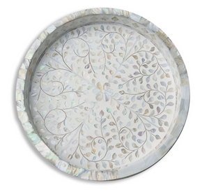 Mother of Pearl Floral Round Tray - White