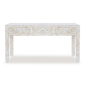 Mother Of Pearl Floral Console Table Medium - White