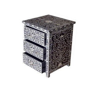 Bone Inlay Floral Bedside Table 3-Drawers - Black