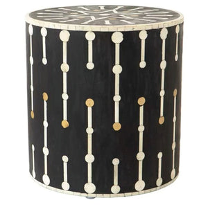 Bone Inlay Spot Side Table - Black and Gold