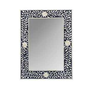 Bone Inlay Floral Rectangle Mirror Small - Black