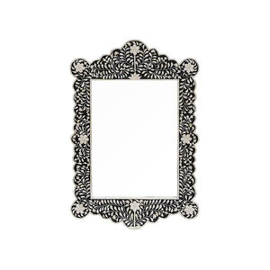 Bone Inlay Floral Mirror - Black