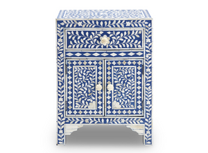 Bone Inlay Floral Bedside Table with Cabinet - Indigo Blue