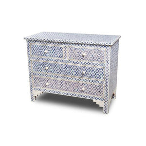 Bone Inlay Diamond Chest 4-Drawers - Blue