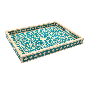 Bone Inlay Floral Rectangular Tray - Turquoise