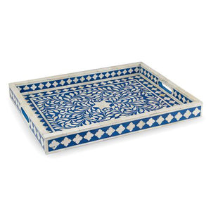 Bone Inlay Floral Rectangular Tray - Blue