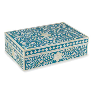 Bone Inlay Floral Box - Turquoise