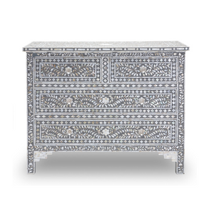 Mother of Pearl Floral Chest 4-Drawers - Grey