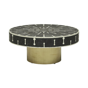 Bone Inlay Spot Coffee Table - Black and Brass