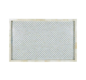 Bone Inlay Fishscale Rectangular Tray - Grey