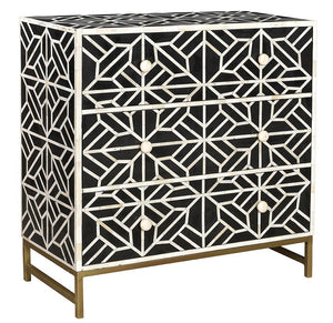 Bone Inlay Abstract 3-Drawer Chest - Black