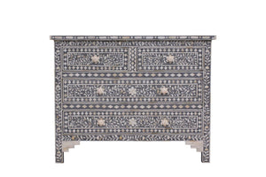 Bone Inlay Floral Chest 4-Drawers - Grey