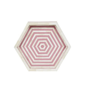 Bone Inlay Hexagon Tray - Pink