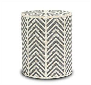 Bone Inlay Chevron Side Table in Grey