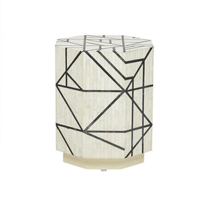 Bone Inlay Abstract Side Table in White