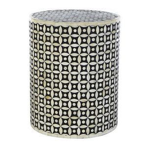 Bone Inlay Geometric Side Table in Black