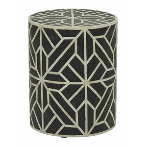Bone Inlay Abstract Side Table in Black