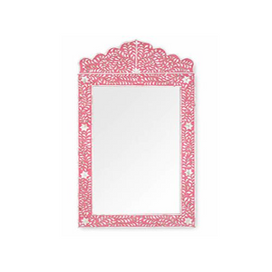 Mother of Pearl Floral Crested Mirror - Pink